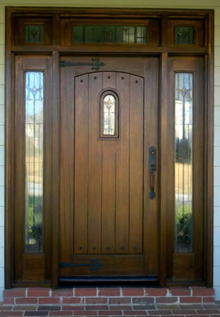 Wood front door refinishing business cary raleigh for Hardwood front doors